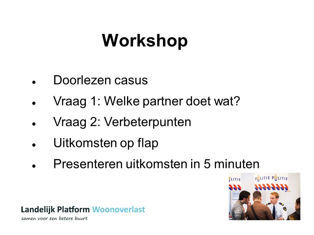 14 Workshop Doorlezen casus Vraag 1: Welke partner doet wat? Vraag 2: Verbeterpunten Uitkomsten op flap Presenteren uitkomsten in 5 minuten