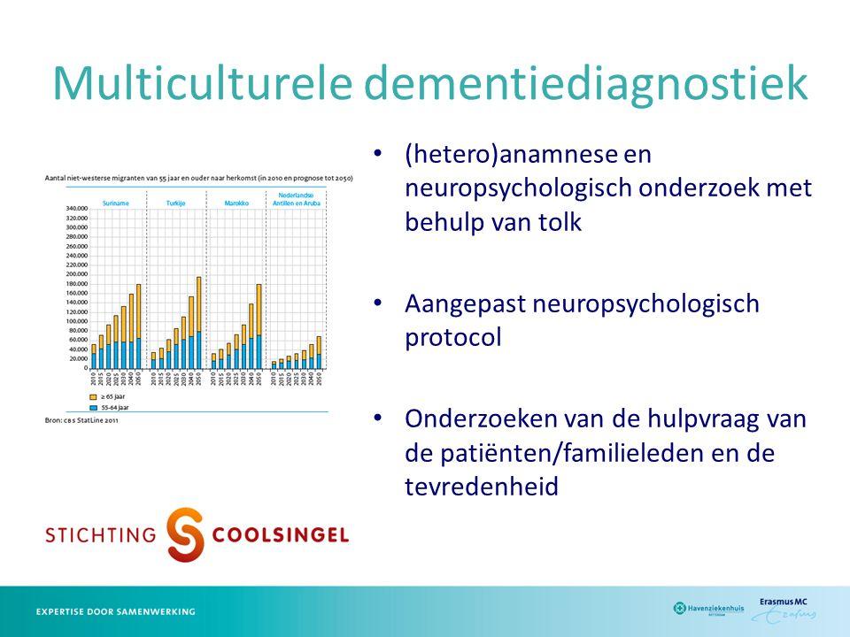 Multiculturele dementiediagnostiek (hetero)anamnese en neuropsychologisch onderzoek met behulp van tolk Aangepast neuropsychologisch protocol Onderzoeken van de hulpvraag van de patiënten/familieleden en de tevredenheid