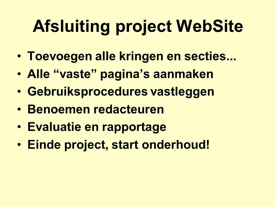 Afsluiting project WebSite Toevoegen alle kringen en secties...