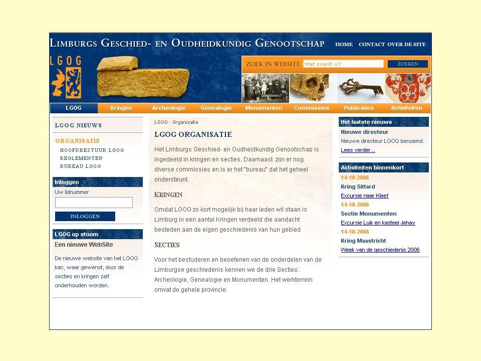 Kringen Basisfunctionaliteit: Bestuur van de kring Contact informatie Historie van de streek Publicaties Links Specifieke onderwerpen...