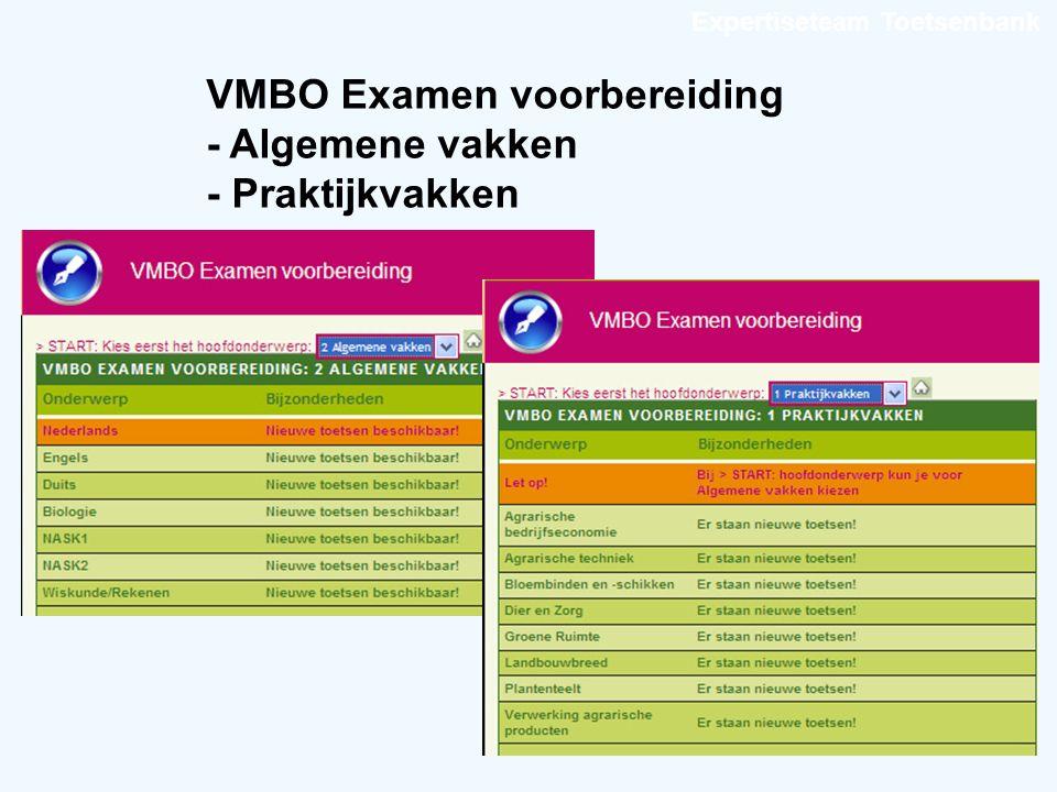 Expertiseteam Toetsenbank VMBO Examen voorbereiding - Algemene vakken - Praktijkvakken