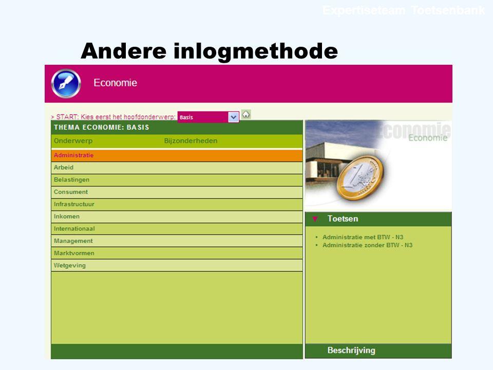 Expertiseteam Toetsenbank Andere inlogmethode