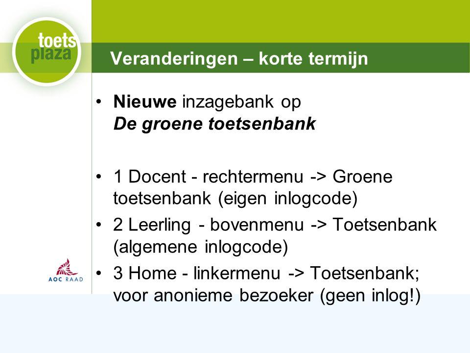 Expertiseteam Toetsenbank Nieuwe inzagebank op De groene toetsenbank 1 Docent - rechtermenu -> Groene toetsenbank (eigen inlogcode) 2 Leerling - bovenmenu -> Toetsenbank (algemene inlogcode) 3 Home - linkermenu -> Toetsenbank; voor anonieme bezoeker (geen inlog!) Veranderingen – korte termijn