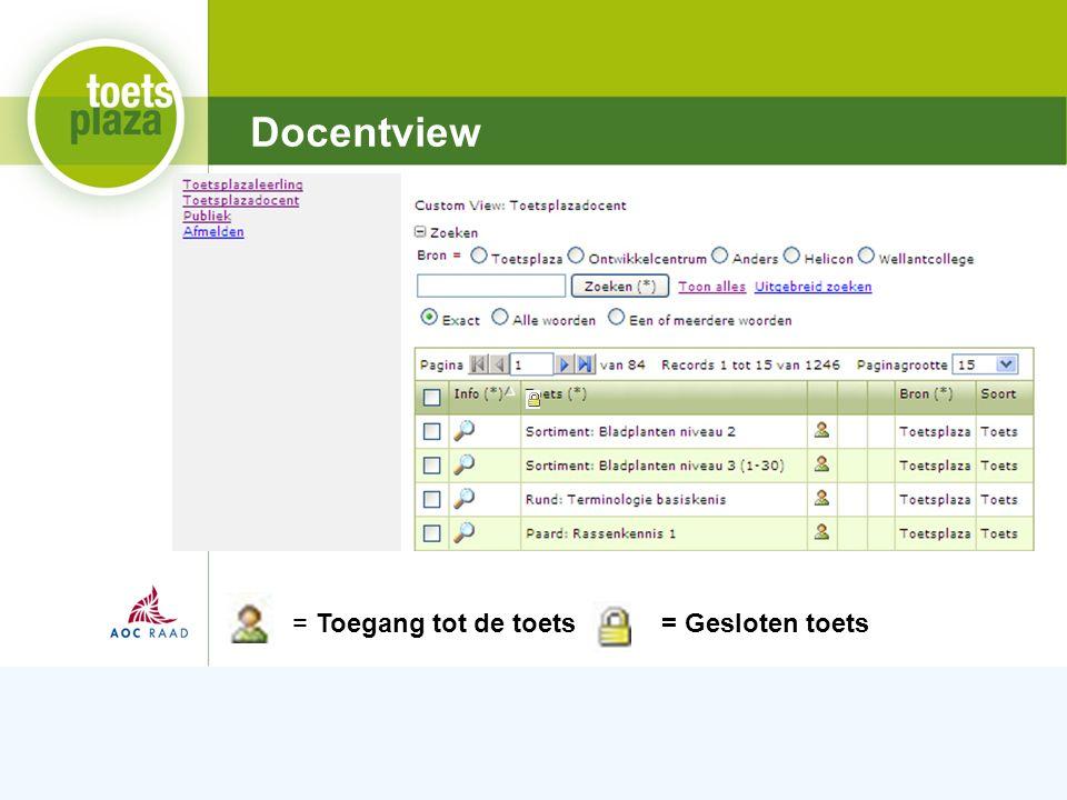 Expertiseteam Toetsenbank Docentview = Toegang tot de toets= Gesloten toets