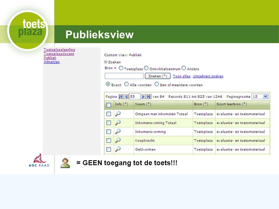 Expertiseteam Toetsenbank Publieksview = GEEN toegang tot de toets!!!