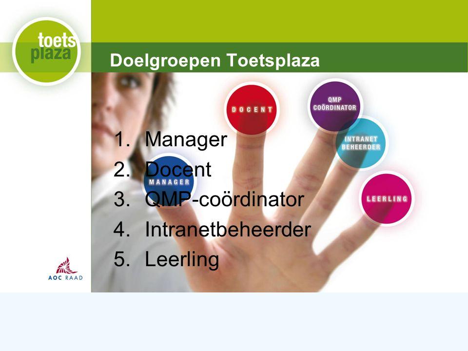 Expertiseteam Toetsenbank Doelgroepen Toetsplaza 1.Manager 2.Docent 3.QMP-coördinator 4.Intranetbeheerder 5.Leerling
