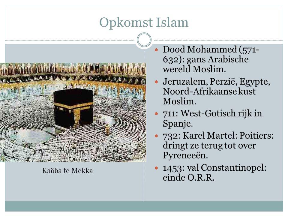Opkomst Islam Dood Mohammed (571- 632): gans Arabische wereld Moslim. Jeruzalem, Perzië, Egypte, Noord-Afrikaanse kust Moslim. 711: West-Gotisch rijk