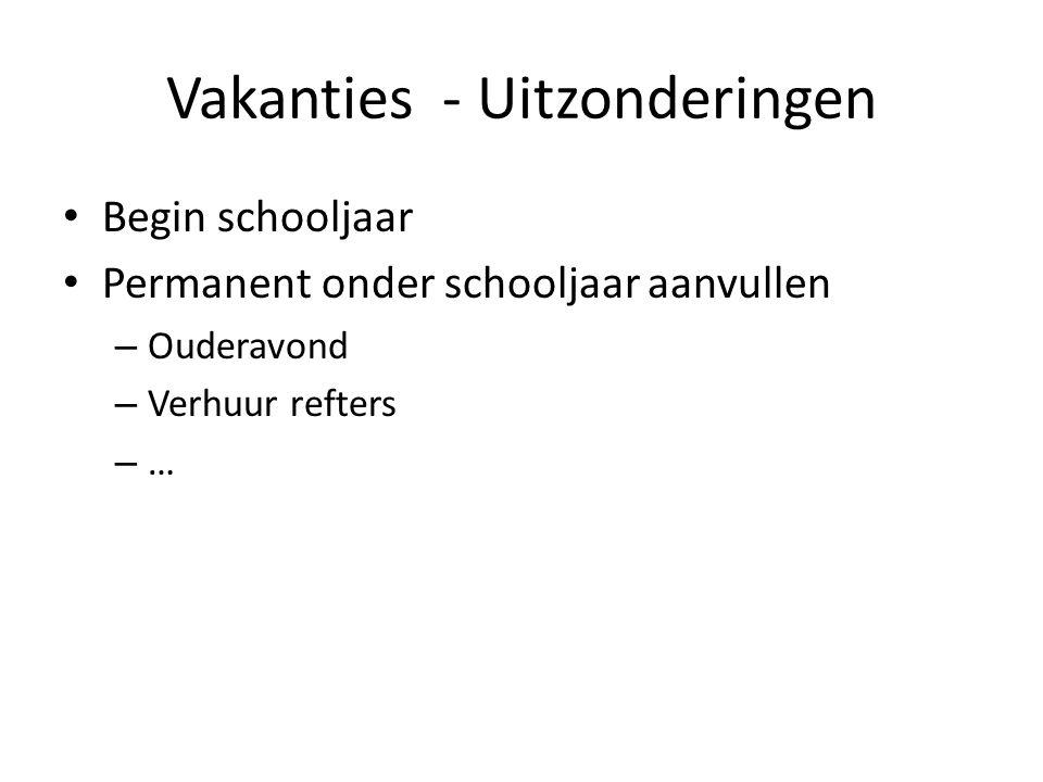 Vakanties - Uitzonderingen Begin schooljaar Permanent onder schooljaar aanvullen – Ouderavond – Verhuur refters – …