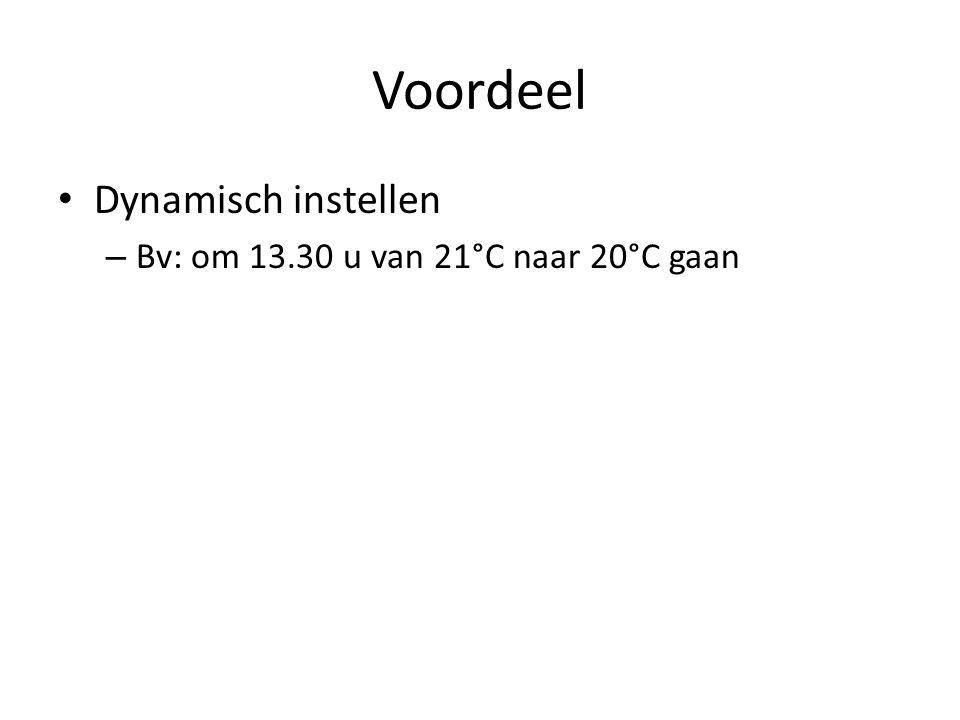 Voordeel Dynamisch instellen – Bv: om 13.30 u van 21°C naar 20°C gaan