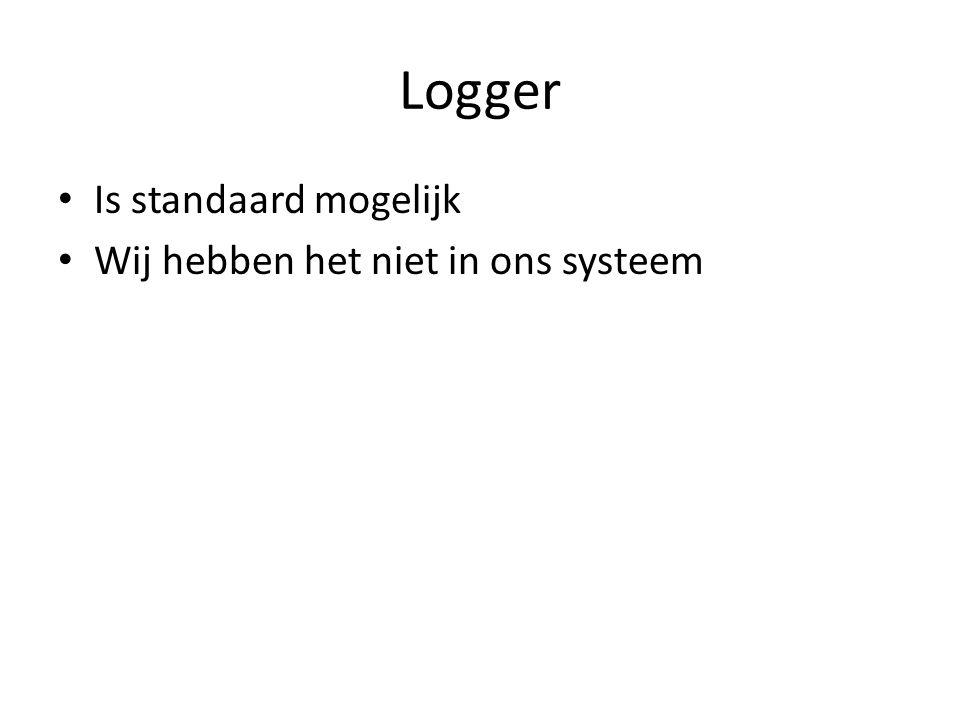 Logger Is standaard mogelijk Wij hebben het niet in ons systeem