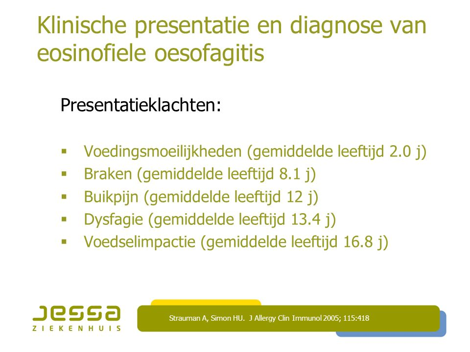 Klinische presentatie en diagnose van eosinofiele oesofagitis Presentatieklachten:  Voedingsmoeilijkheden (gemiddelde leeftijd 2.0 j)  Braken (gemiddelde leeftijd 8.1 j)  Buikpijn (gemiddelde leeftijd 12 j)  Dysfagie (gemiddelde leeftijd 13.4 j)  Voedselimpactie (gemiddelde leeftijd 16.8 j) Strauman A, Simon HU.