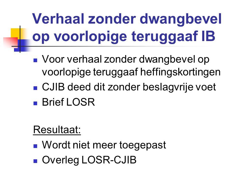 Verhaal zonder dwangbevel op voorlopige teruggaaf IB Voor verhaal zonder dwangbevel op voorlopige teruggaaf heffingskortingen CJIB deed dit zonder bes
