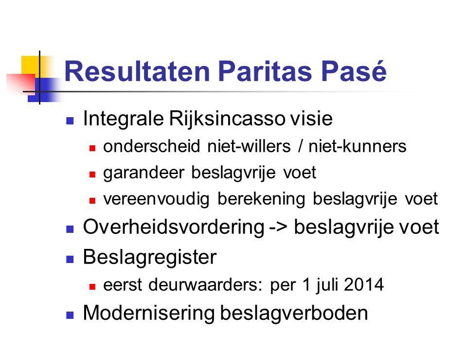 Resultaten Paritas Pasé Integrale Rijksincasso visie onderscheid niet-willers / niet-kunners garandeer beslagvrije voet vereenvoudig berekening beslag