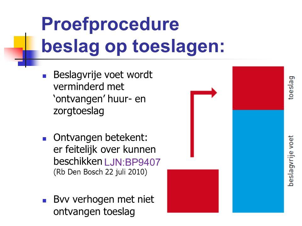 Proefprocedure beslag op toeslagen: Beslagvrije voet wordt verminderd met 'ontvangen' huur- en zorgtoeslag Ontvangen betekent: er feitelijk over kunnen beschikken (Rb Den Bosch 22 juli 2010) Bvv verhogen met niet ontvangen toeslag LJN:BP9407
