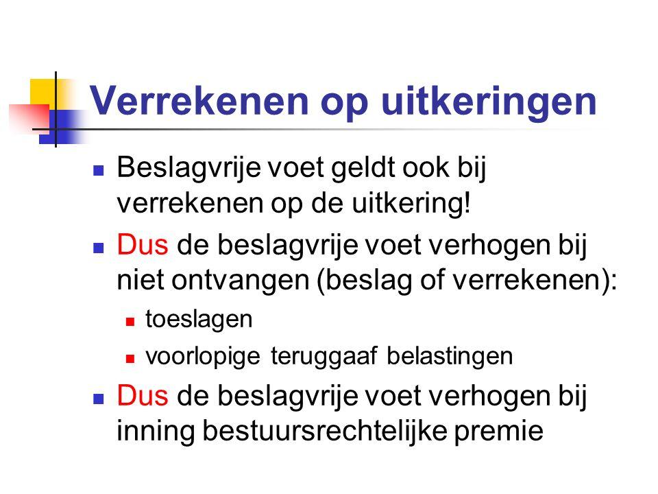 Verrekenen op uitkeringen Beslagvrije voet geldt ook bij verrekenen op de uitkering.