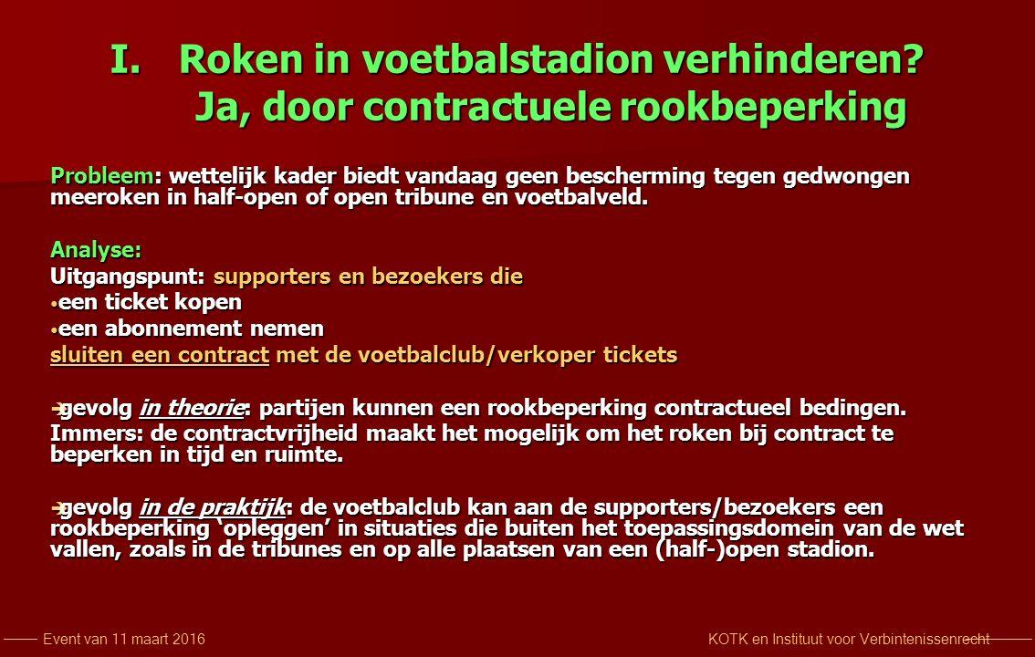 KOTK en Instituut voor VerbintenissenrechtEvent van 11 maart 2016 I.Roken in voetbalstadion verhinderen.
