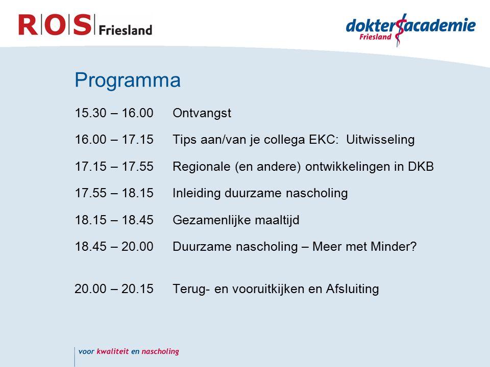 Programma 15.30 – 16.00Ontvangst 16.00 – 17.15Tips aan/van je collega EKC: Uitwisseling 17.15 – 17.55Regionale (en andere) ontwikkelingen in DKB 17.55 – 18.15 Inleiding duurzame nascholing 18.15 – 18.45Gezamenlijke maaltijd 18.45 – 20.00Duurzame nascholing – Meer met Minder.