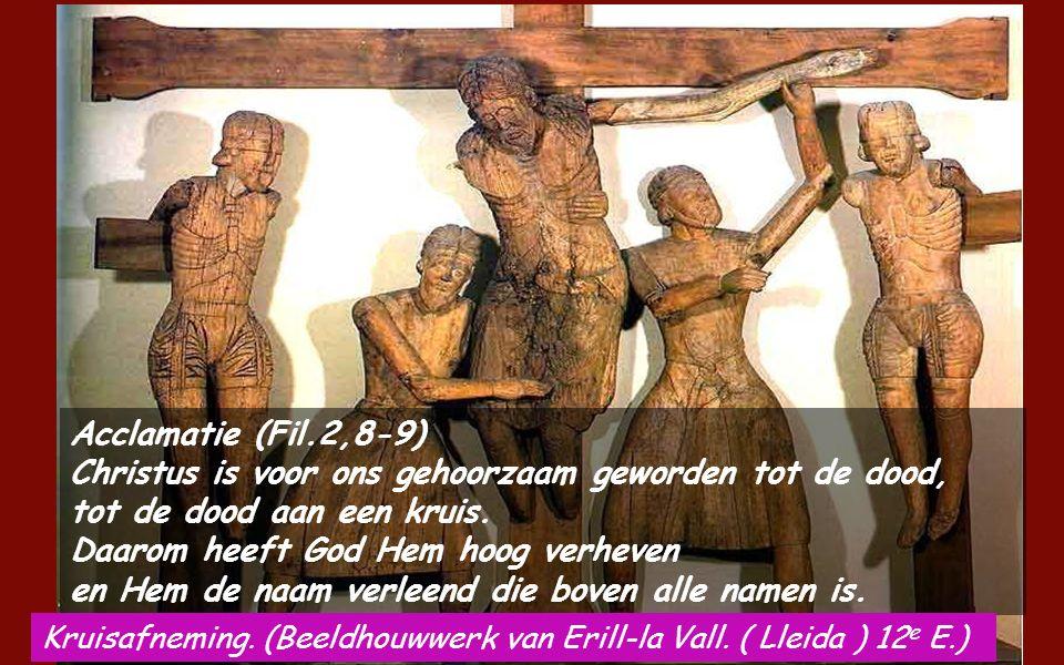 Hebr 4,14-16;5,7-9 Broeders en zusters, Nu wij een verheven hogepriester hebben, een die de hemelen is doorgegaan, Jezus, de Zoon van God, moeten wij vasthouden aan onze belijdenis.
