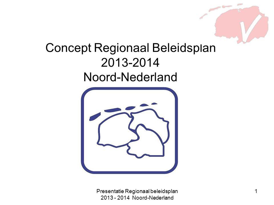 Presentatie Regionaal beleidsplan 2013 - 2014 Noord-Nederland 1 Concept Regionaal Beleidsplan 2013-2014 Noord-Nederland