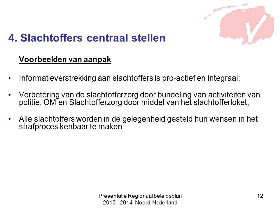 Presentatie Regionaal beleidsplan 2013 - 2014 Noord-Nederland 12 4. Slachtoffers centraal stellen Voorbeelden van aanpak Informatieverstrekking aan sl