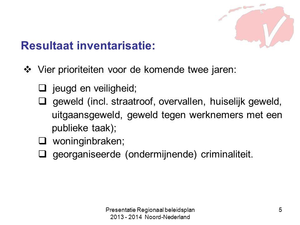 Presentatie Regionaal beleidsplan 2013 - 2014 Noord-Nederland 5 Resultaat inventarisatie:  Vier prioriteiten voor de komende twee jaren:  jeugd en veiligheid;  geweld (incl.