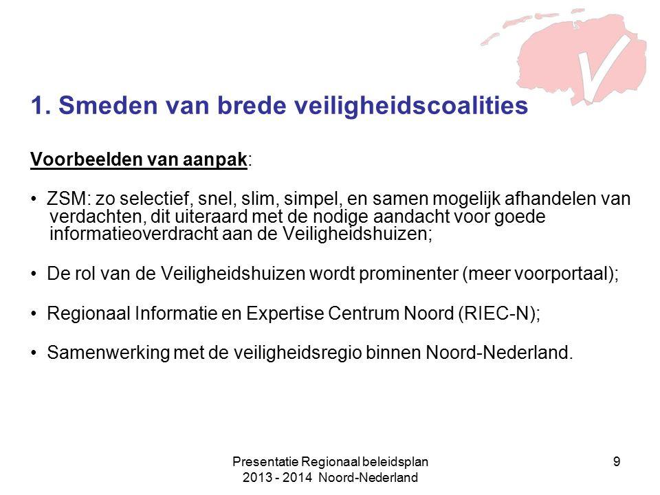 Presentatie Regionaal beleidsplan 2013 - 2014 Noord-Nederland 9 1. Smeden van brede veiligheidscoalities Voorbeelden van aanpak: ZSM: zo selectief, sn