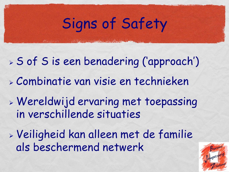 Signs of Safety  S of S is een benadering ('approach')  Combinatie van visie en technieken  Wereldwijd ervaring met toepassing in verschillende situaties  Veiligheid kan alleen met de familie als beschermend netwerk