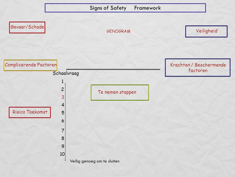 Gevaar/Schade Risico Toekomst Complicerende Factoren Schaalvraag Veiligheid Krachten / Beschermende factoren Veilig genoeg om te sluiten 1 2 4 5 7 8 9 10 6 Signs of Safety Framework Te nemen stappen GENOGRAM 3