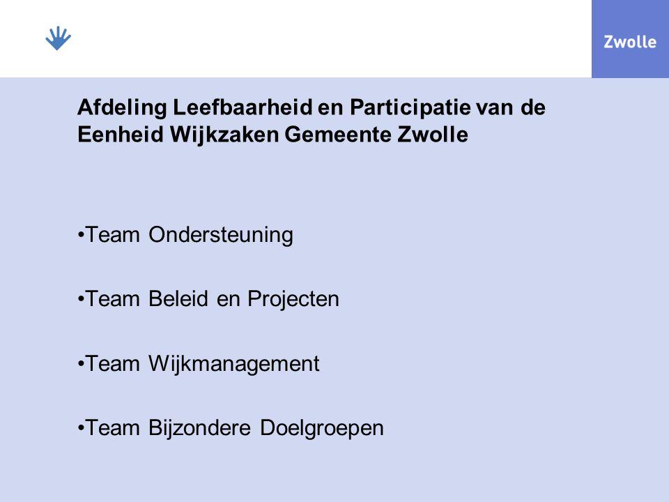 Afdeling Leefbaarheid en Participatie van de Eenheid Wijkzaken Gemeente Zwolle Team Ondersteuning Team Beleid en Projecten Team Wijkmanagement Team Bijzondere Doelgroepen