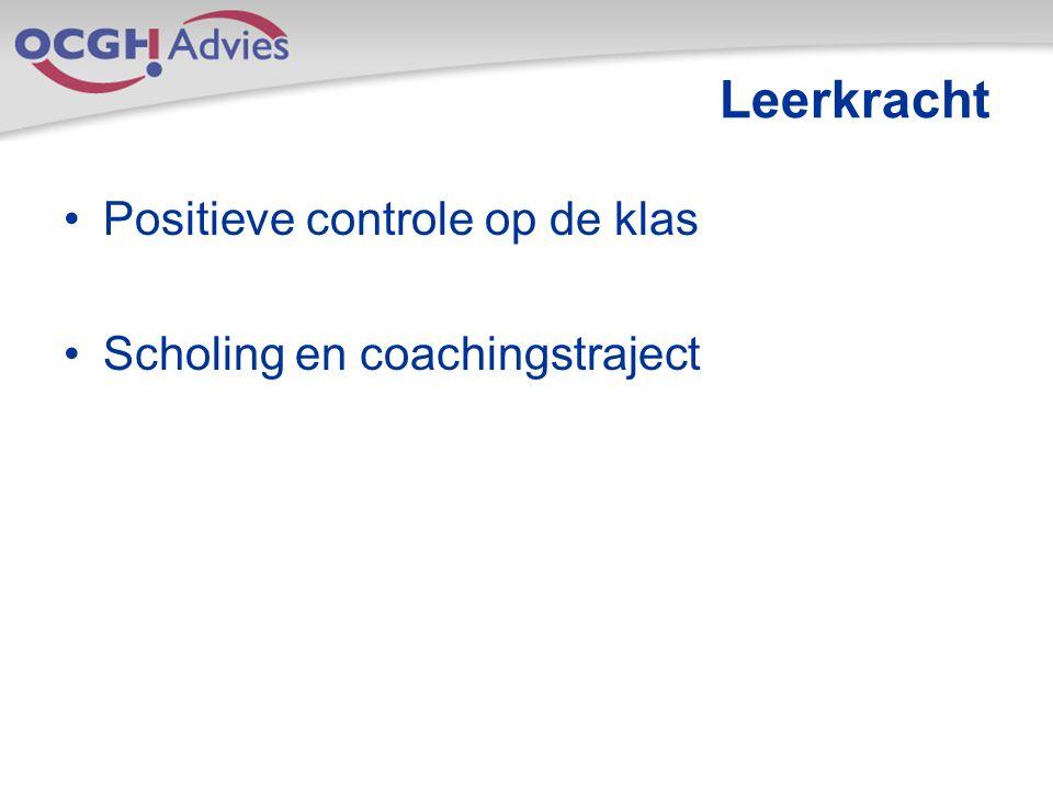 Leerkracht Positieve controle op de klas Scholing en coachingstraject