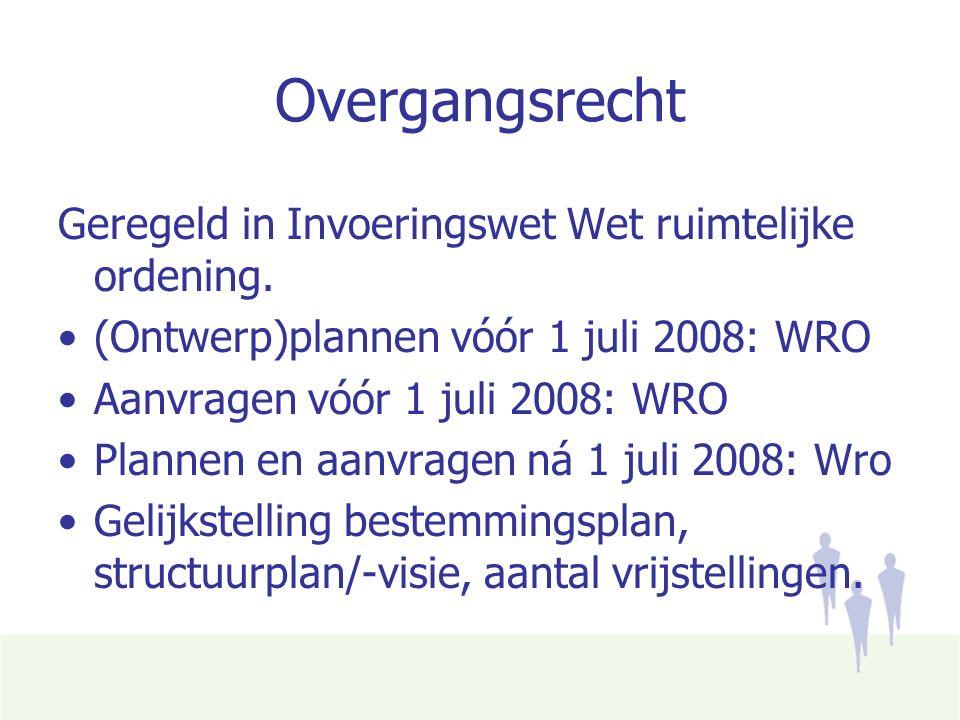Overgangsrecht Geregeld in Invoeringswet Wet ruimtelijke ordening.