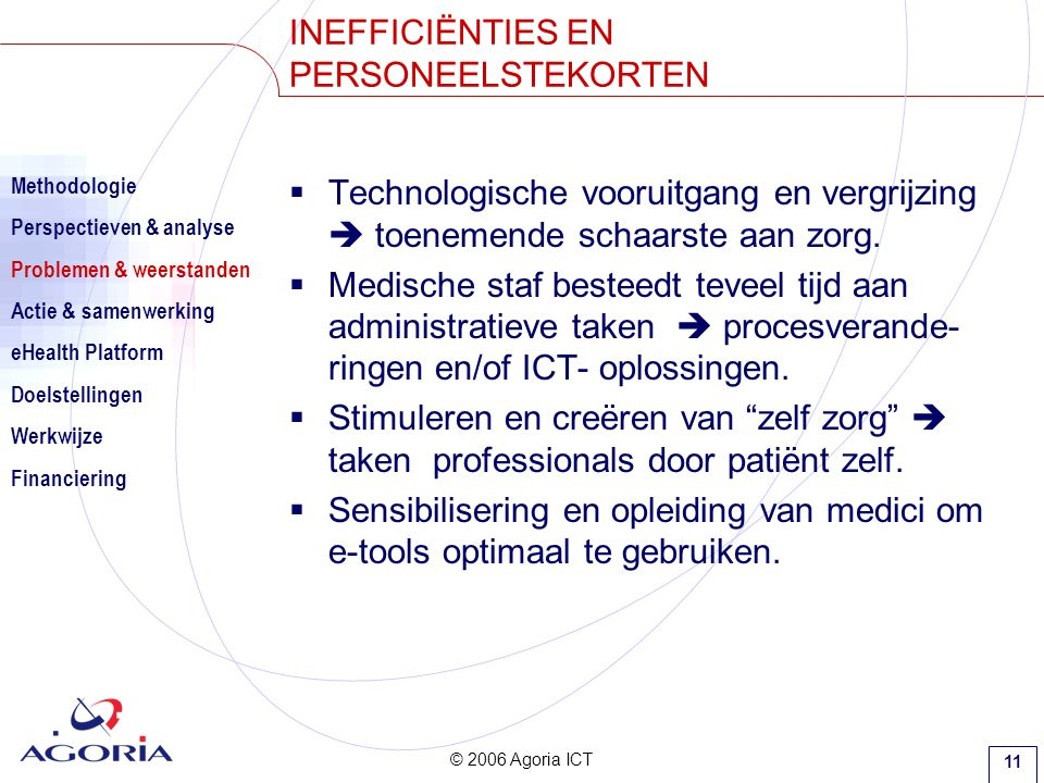 © 2006 Agoria ICT 11  Technologische vooruitgang en vergrijzing  toenemende schaarste aan zorg.