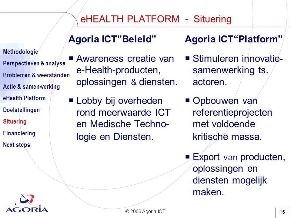 © 2006 Agoria ICT 15 eHEALTH PLATFORM - Situering Agoria ICT Beleid Agoria ICT Platform  Awareness creatie van  Stimuleren innovatie- e-Health-producten, samenwerking ts.