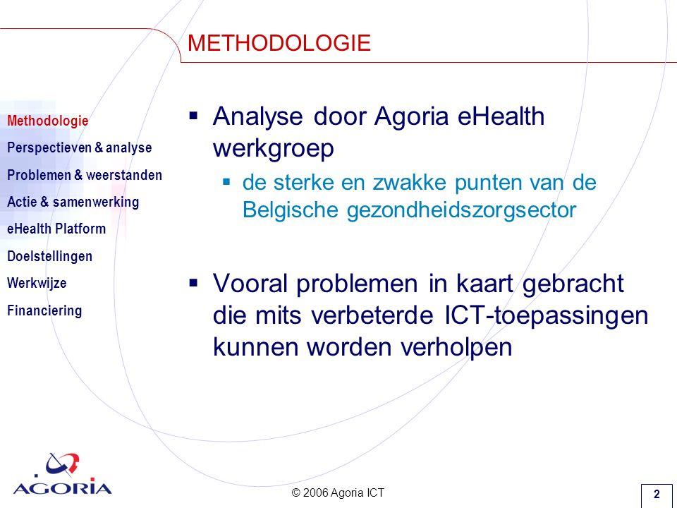 © 2006 Agoria ICT 2 METHODOLOGIE  Analyse door Agoria eHealth werkgroep  de sterke en zwakke punten van de Belgische gezondheidszorgsector  Vooral problemen in kaart gebracht die mits verbeterde ICT-toepassingen kunnen worden verholpen Methodologie Perspectieven & analyse Problemen & weerstanden Actie & samenwerking eHealth Platform Doelstellingen Werkwijze Financiering