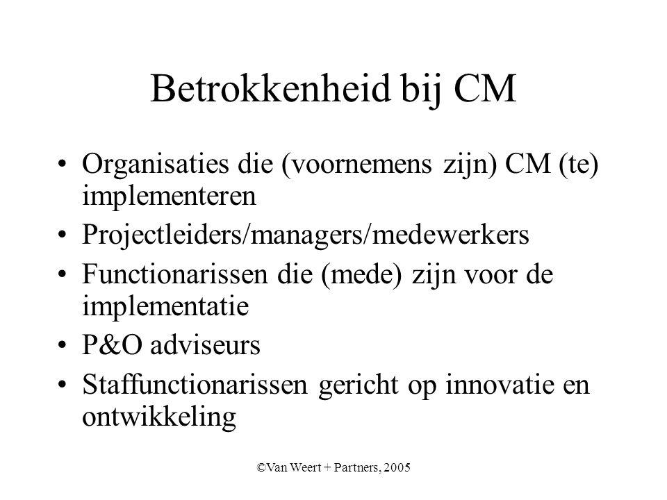 ©Van Weert + Partners, 2005 Betrokkenheid bij CM Organisaties die (voornemens zijn) CM (te) implementeren Projectleiders/managers/medewerkers Functionarissen die (mede) zijn voor de implementatie P&O adviseurs Staffunctionarissen gericht op innovatie en ontwikkeling