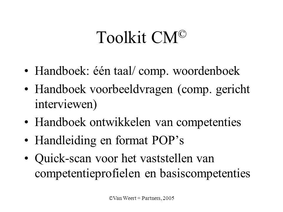 ©Van Weert + Partners, 2005 Toolkit CM © Handboek: één taal/ comp.