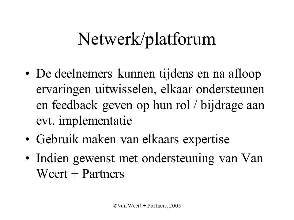 ©Van Weert + Partners, 2005 Netwerk/platforum De deelnemers kunnen tijdens en na afloop ervaringen uitwisselen, elkaar ondersteunen en feedback geven op hun rol / bijdrage aan evt.