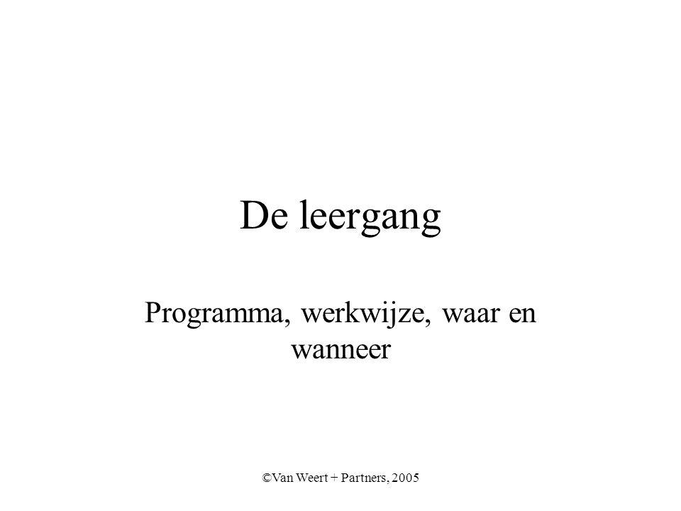 ©Van Weert + Partners, 2005 De leergang Programma, werkwijze, waar en wanneer
