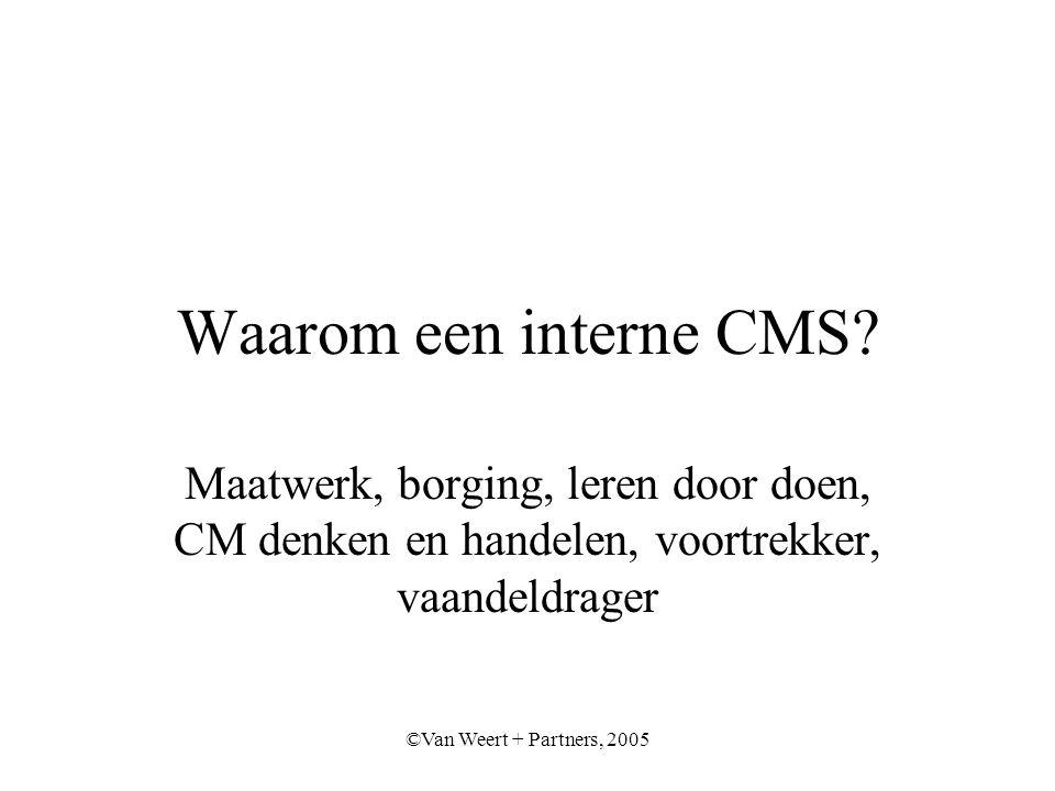 ©Van Weert + Partners, 2005 Waarom een interne CMS.