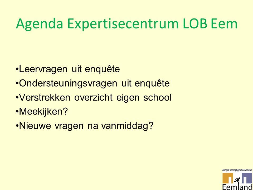 Agenda Expertisecentrum LOB Eem Leervragen uit enquête Ondersteuningsvragen uit enquête Verstrekken overzicht eigen school Meekijken.