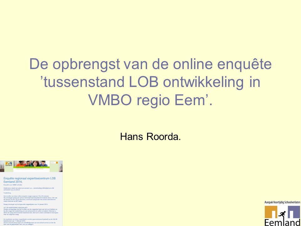 De opbrengst van de online enquête 'tussenstand LOB ontwikkeling in VMBO regio Eem'. Hans Roorda.