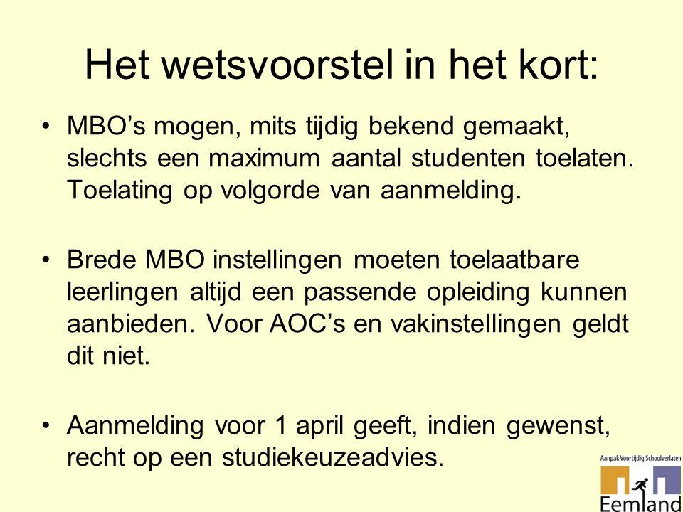Het wetsvoorstel in het kort: MBO's mogen, mits tijdig bekend gemaakt, slechts een maximum aantal studenten toelaten.