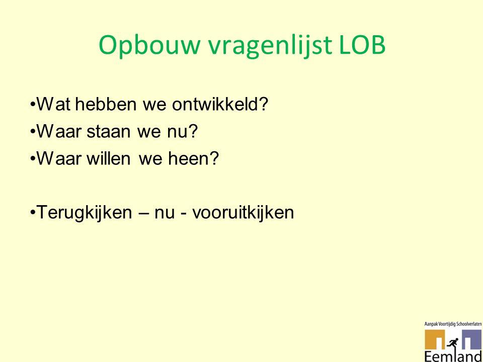 Opbouw vragenlijst LOB Wat hebben we ontwikkeld. Waar staan we nu.