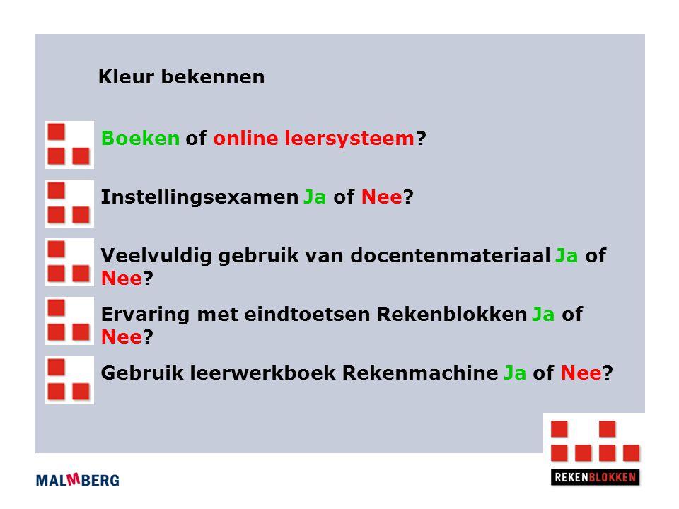 Kleur bekennen Boeken of online leersysteem. Instellingsexamen Ja of Nee.