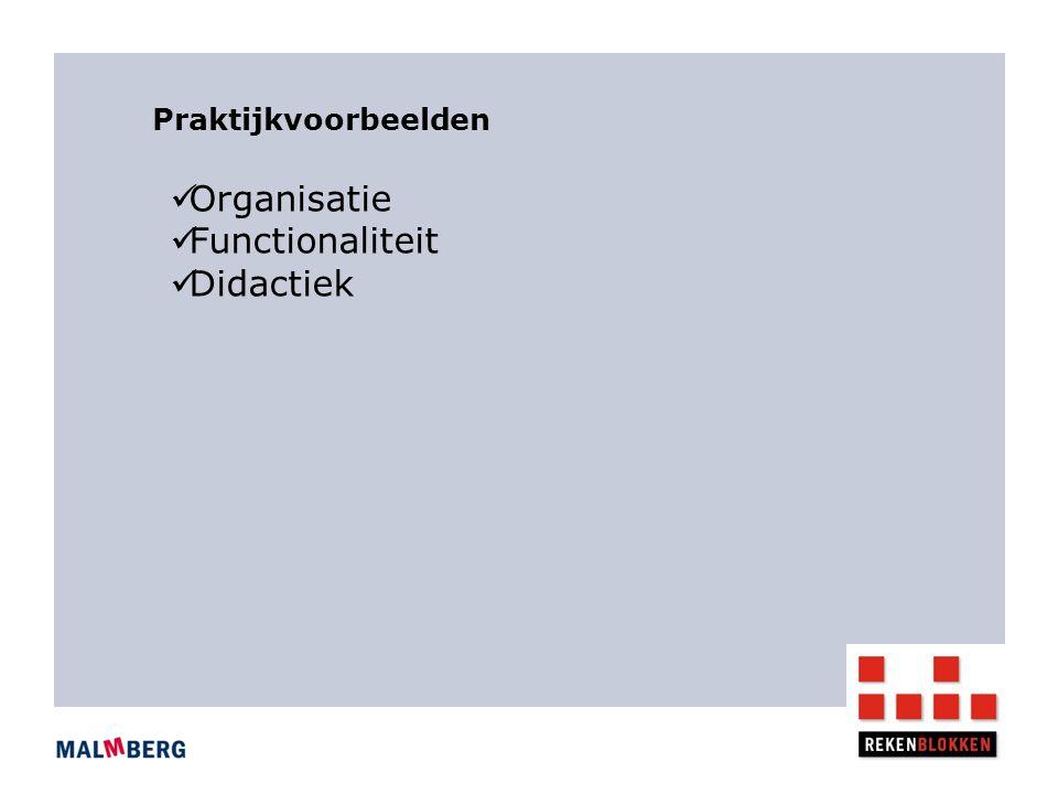 Organisatie Functionaliteit Didactiek Praktijkvoorbeelden