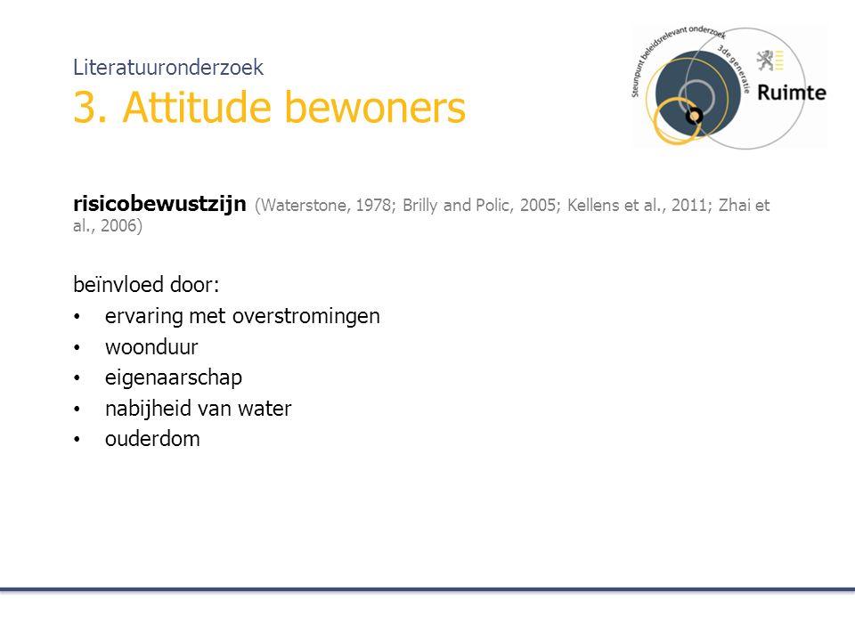 risicobewustzijn (Waterstone, 1978; Brilly and Polic, 2005; Kellens et al., 2011; Zhai et al., 2006) beïnvloed door: ervaring met overstromingen woonduur eigenaarschap nabijheid van water ouderdom Literatuuronderzoek 3.