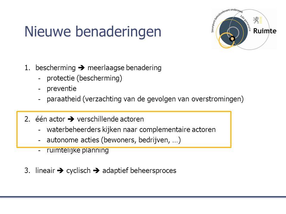 Nieuwe benaderingen 1.bescherming  meerlaagse benadering -protectie (bescherming) -preventie -paraatheid (verzachting van de gevolgen van overstromingen) 2.één actor  verschillende actoren -waterbeheerders kijken naar complementaire actoren -autonome acties (bewoners, bedrijven, …) -ruimtelijke planning 3.lineair  cyclisch  adaptief beheersproces