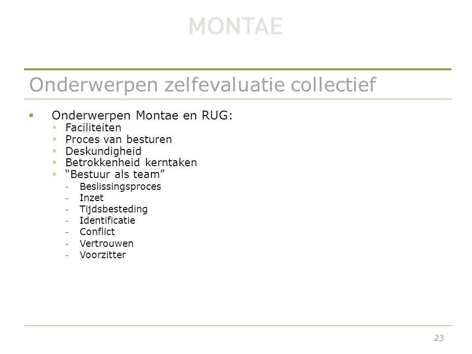 Onderwerpen zelfevaluatie collectief  Onderwerpen Montae en RUG:  Faciliteiten  Proces van besturen  Deskundigheid  Betrokkenheid kerntaken  Bestuur als team -Beslissingsproces -Inzet -Tijdsbesteding -Identificatie -Conflict -Vertrouwen -Voorzitter 23
