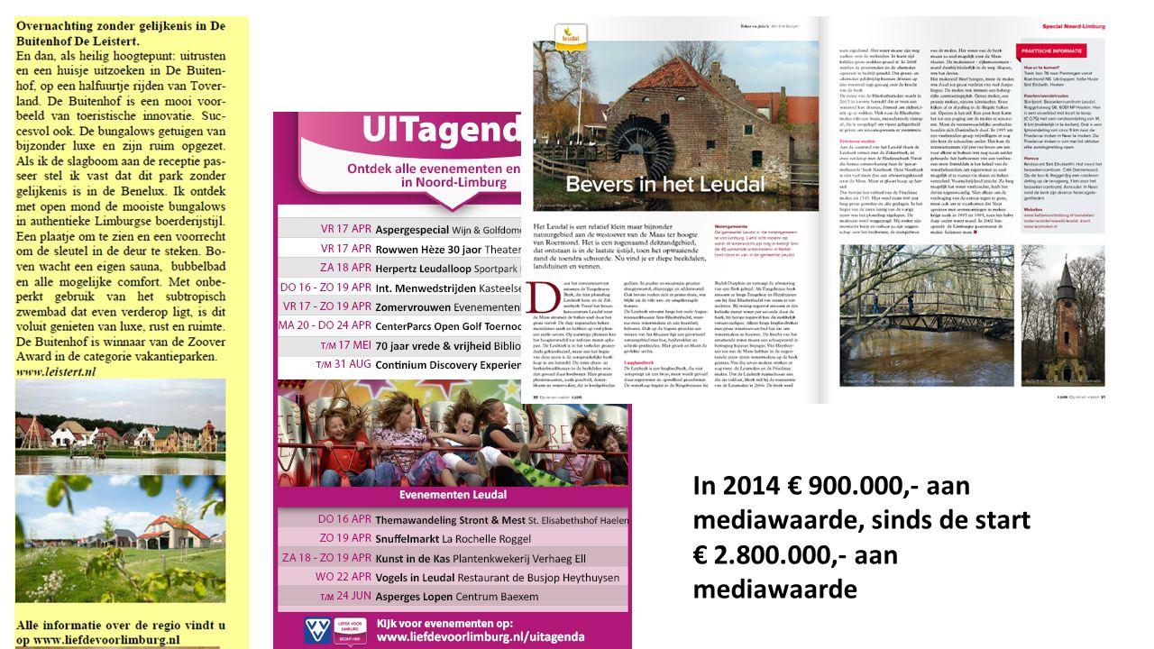 In 2014 € 900.000,- aan mediawaarde, sinds de start € 2.800.000,- aan mediawaarde