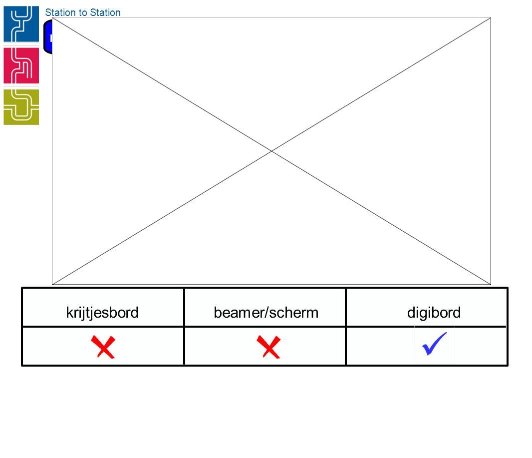 krijtjesbordbeamer/schermdigibord Interactie Station to Station